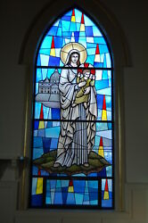 + Nice Stained Glass Church Window Of Mary Madonna With Child + Chalice Co.