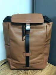 NWT Michael Kors MK Men's Russel Leather Luggage Brown Backpack