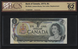 1973 Bank Of Canada 1 Replacement Fh3895999 - Bcs Choice Unc 62 Original