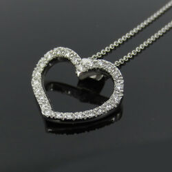 Rare Gerard 0.65ct Perfect Cut Diamond And 18k White Gold Curved Heart Necklace