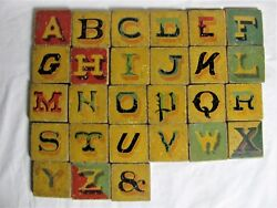 Antique Painted Folk Art Wooden Block Letters And Numbers Teaching Toy