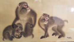Finest Quality Signed Antique Japanese Painting Of Monkeys Silk After Mori Sosen