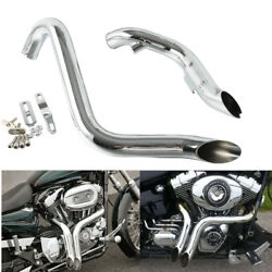 Chrome 1.75 Pipes Exhaust Fit For Harley Softail Sportster Touring Drag 84-16