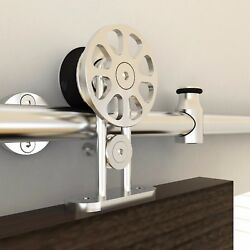 Heavy-duty Stainless Steel Barn Door Hardware Kits For Wood And/or Glass Doors
