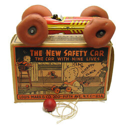 Marx The New Safety Car Tin Pull Toy - Near Mint In Box