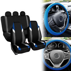 Supreme Modernistic Car Seat Covers Blue Black W/ Silicone Steering Wheel Cover