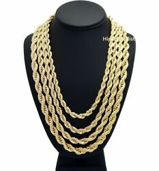 Rope Chain Necklace 7mm To 10mm 20 22 24 26 30 14k Gold Plated Hip Hop