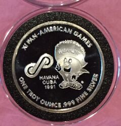 1991 Xi Pan-american Games 1 Troy Oz .999 Fine Silver Rare Proof Coin Round Usa
