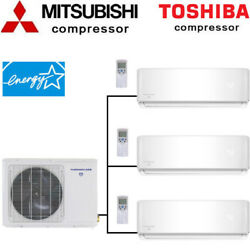 21 SEER Tri Zone Ductless Mini Split Air Conditioner Heat Pump Ceiling cassette