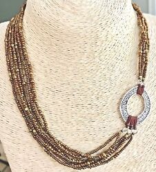 Silpada 925 Sterling Silver Oval Bronze Bead Multi Strand Necklace N1785 Retired