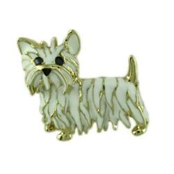 White Enamel and Gold Cairn Terrier Dog Pin