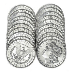 Original Roll 20 Bu 1887 1 Morgan Silver Dollars Brilliant Uncirculated Coins