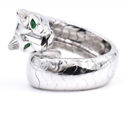 Iconic 'Panthere de Cartier' Ring Made In 18k White Gold With Emerald And Onyx