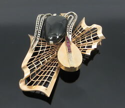 Vintage 0.50ct Ruby And Onyx 14k White And Yellow Gold Music Theme Brooch