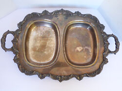 Vtg Poole Old English Epca Silver Plated Footed Devided 22x14.5 Serving Tray