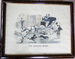 Antique 1879 Lithographic Print Thomas B Worth Currier And Ives The Deacon's Mare