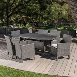 Cyril Outdoor 7 Piece Wicker Round Dining Set With Water Resistant Cushions
