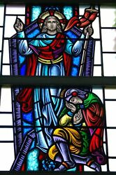 + Nice Figural Stained Glass Window 15and039 Tall X 4and039-6w. 7 Of 12 + Chalice Co.