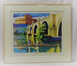 Beautiful Original Brian Keeler Watercolor And Pastel Rowing On The Timber