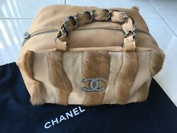 Authentic Leather And Fur Shoulder Bag