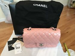 authentic 13C chanel pink patent rectangle mini bag with silver hardware