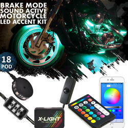 Motorcycle Deluxe Led Light Pods Kit All-color Neon Accent Glow Body Bluetooth