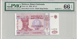 Bank Of Moldova Solid Serial 111111 - 50 Lei 2008 598