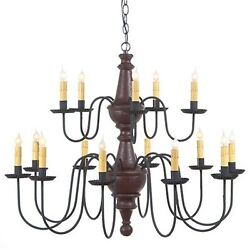 Irvinand039s 15 Arm Harrison Two Tier Wood Chandelier - Country Primitive Light -new