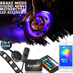 16pc Motorcycle Led Under Glow Light Kit Full-color Neon Strip Bluetooth Control