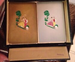 Vintage Bridge Card Case Germany With 2 Packs Us Playing Cards Art Deco