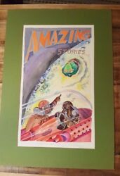 Amazing Stories Spoof Cover  Watercolor by Gay GladingSigned & Inscribed 1971