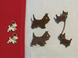 Vintage lot of Scottish terrier Scotty Scottie dog pins and charms