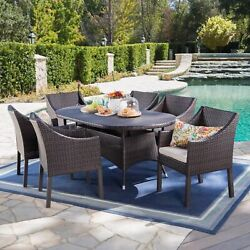 Frances Outdoor 7 Piece Wicker Oval Dining Set With Water Resistant Cushions