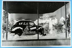 1937 Ford Christmas Window Display 12 By 18 Black And White Picture