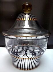 Art Deco Adolf Beckert Enameled Faun Orchestra Glass Covered Candy Jar, Ca 1916