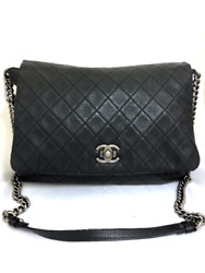 Chanel Quilted Messenger Crossbody Bag Black Leather Authenticity Guaranteed