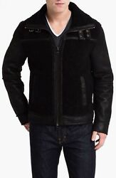 Bnwt Awesome! Michael Kors Shearling Racer Jacket Black Size Large Very Rare!