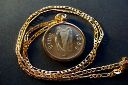 1988 Irish Pony Horse Coin Pendant On A 24 18k Gold Filled Figaro Chain