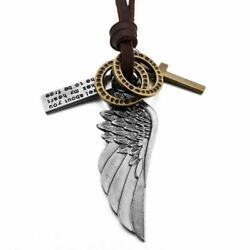 Men Vintage Angel Feather Eagle Wing Cross Leather Chain Necklace Pendan $3.99