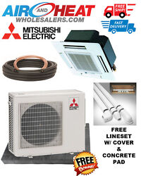 MITSUBISHI P SERIES HEAT PUMP CASSETTE MINI SPLIT 30K BTU 22 SEER (FREE KIT)