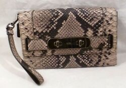 NWT COACH BEECHWOOD PYTHON EMBOSSED LEATHER SWAGGER CLUTCH WRISTLET BAG 66451