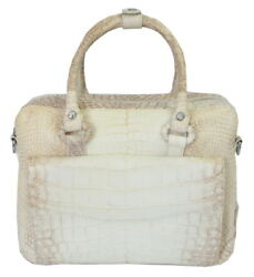 Authentic M Crocodile Skin Womens Belly Leather Shoulder Bag Tote White Handbag