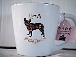 Boston Terrier Black Gold Silhouette Coffee Mug Benefits Dog Rescue Gift