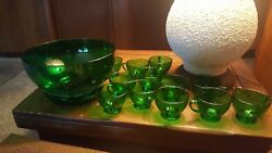 60s Vintage Green Anchor Hocking Glass Punch Bowl And Cups Set