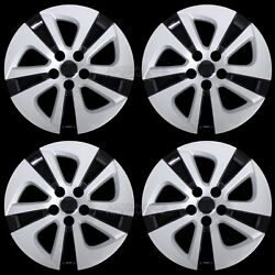 4 Silver amp; Black 2016 2018 Toyota Prius 15quot; Wheel Covers Hub Caps Full Rim Skins