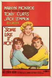 Some Like It Hot 1959 27x41 Orig Movie Poster FFF-01905 Very Fine Marilyn Monroe