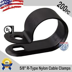 200 Pcs Pack 5/8 Inch R-type Cable Clamps Nylon Black Hose Wire Electrical Uv