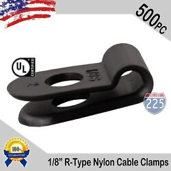 500 Pcs Pack 1/8 Inch R-type Cable Clamps Nylon Black Hose Wire Electrical Uv