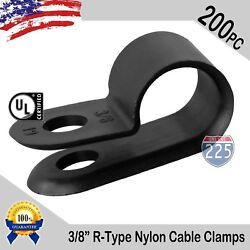 200 Pcs Pack 3/8 Inch R-type Cable Clamps Nylon Black Hose Wire Electrical Uv