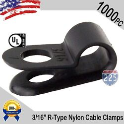 1000 Pcs Pack 3/16 Inch R-type Cable Clamps Nylon Black Hose Wire Electrical Uv